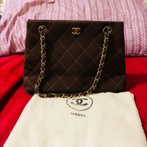 Authentic Chanel Brown Cloth Shoulder/Hand bag
